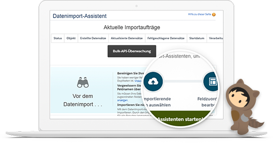 Dashboard des Datenimport-Assistenten in Sales Cloud