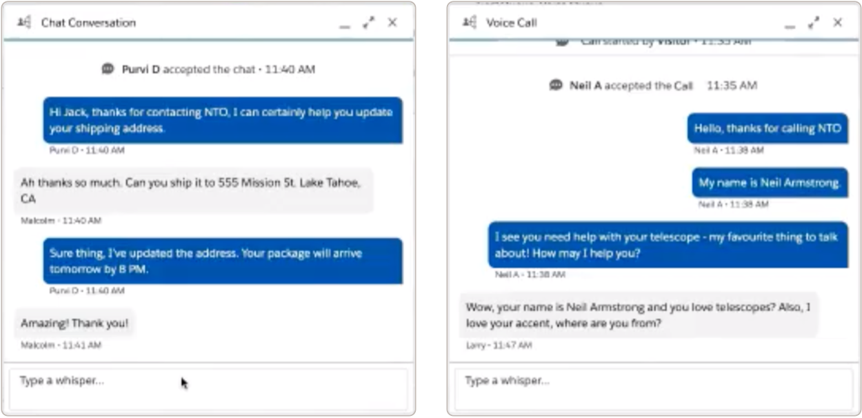 A screenshot of a sample chat conversation and voice call